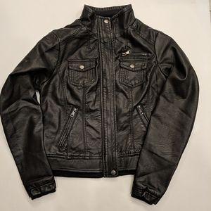 Women's Black Leather Bomber Jacket Size Small